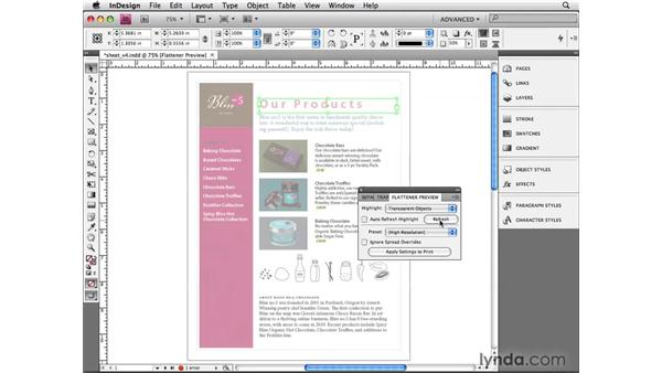Using the Transparency Flattener preview: InDesign CS4 Beyond the Basics