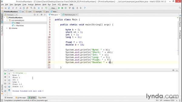 Declaring and initializing numeric primitives: Java Essential Training