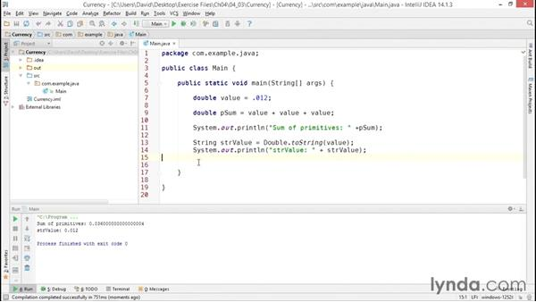 Representing currency values with BigDecimal: Java Essential Training