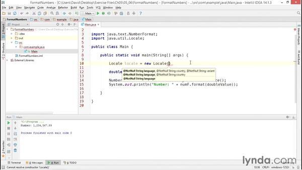 Formatting numeric values as strings: Java Essential Training