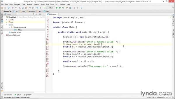 Solution: Creating a simple calculator application: Java Essential Training