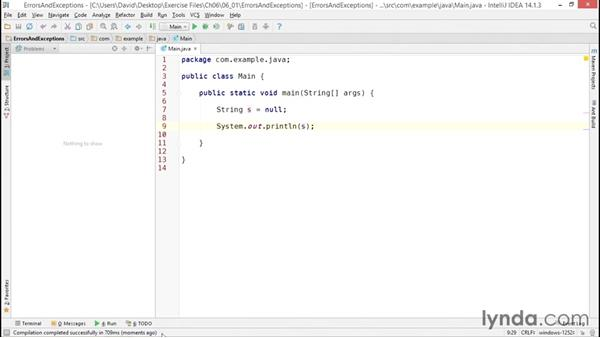 Understanding syntax errors vs. runtime exceptions: Java Essential Training