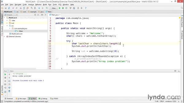 Creating multiple catch blocks: Java Essential Training