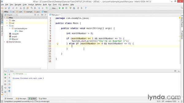 Programming conditional logic: Java Essential Training