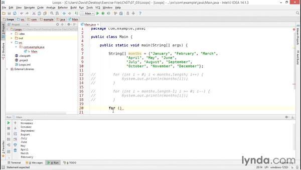 Creating looping code blocks: Java Essential Training
