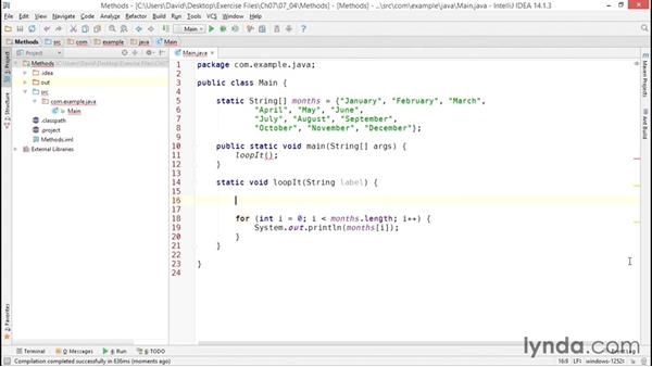 Creating reusable code with methods: Java Essential Training