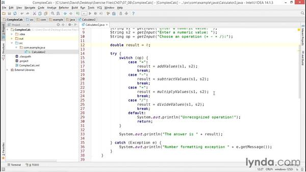 Solution: Creating a more complex calculator application: Java Essential Training