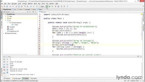 Using simple arrays: Java Essential Training