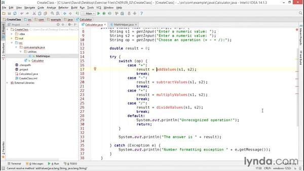 Creating and instantiating custom classes: Java Essential Training