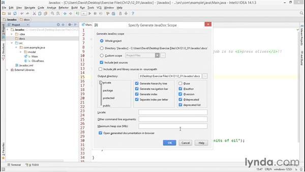 Documenting code with Javadoc: Java Essential Training
