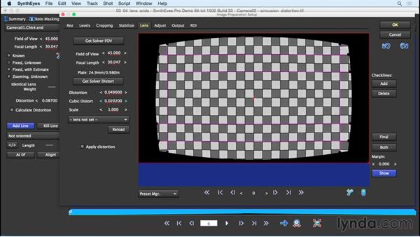 Using a lens grid to find the lens distortion: SynthEyes Essential Training