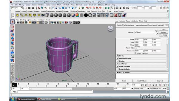 Working with the Attribute editor: Maya 2009 Essential Training
