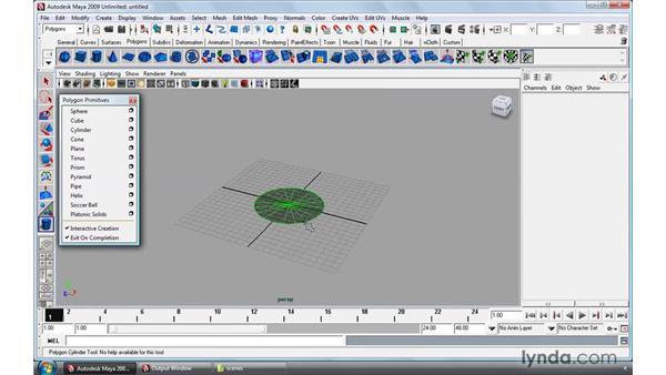 Polygonal primitives: Maya 2009 Essential Training