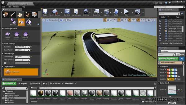 Sculpting terrain and adding materials: Unreal Engine: Architectural Visualization