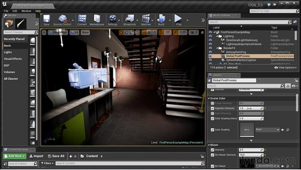 Adding color correction: Unreal Engine: Architectural Visualization