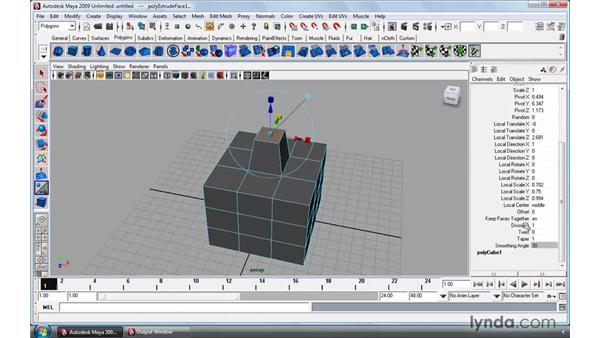 Using the Extrude tool: Maya 2009 Essential Training