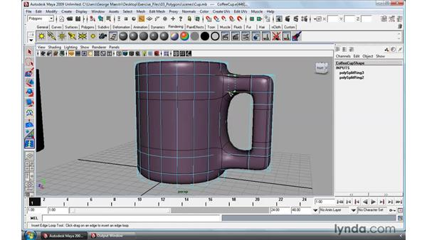 Inserting and offseting edge loops: Maya 2009 Essential Training