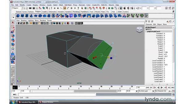 Cutting faces and splitting polygons: Maya 2009 Essential Training