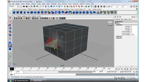 Poking and wedging faces: Maya 2009 Essential Training