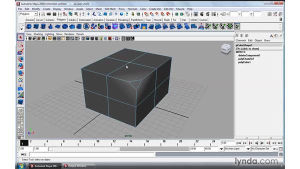 Using the Polygon Chamfer tool: Maya 2009 Essential Training