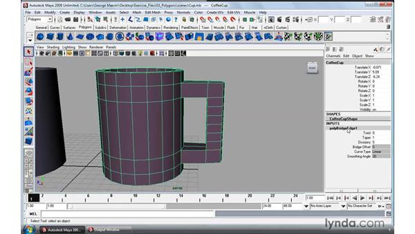 Using the Polygon Bridge tool: Maya 2009 Essential Training