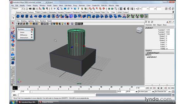 Working with polygon booleans: Maya 2009 Essential Training