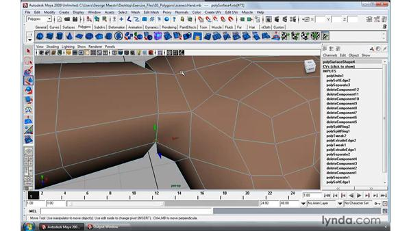Merging vertices and edges: Maya 2009 Essential Training