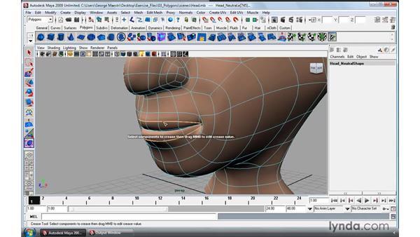 Using the Crease tool: Maya 2009 Essential Training