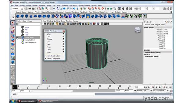 NURBS primitives: Maya 2009 Essential Training