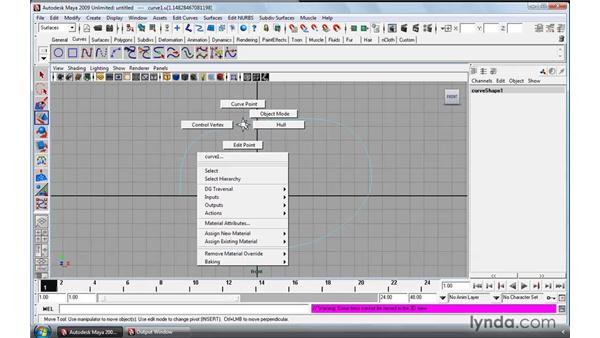 Manipulating NURBS curves: Maya 2009 Essential Training