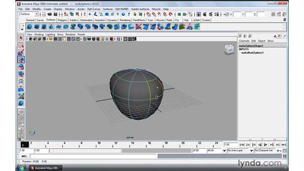 Manipulating NURBS surfaces: Maya 2009 Essential Training