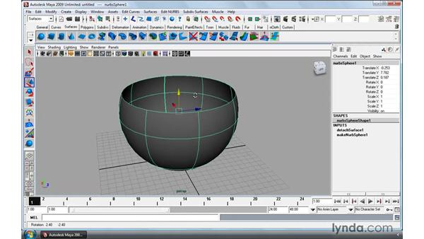 Extracting NURBS curves from surfaces: Maya 2009 Essential Training