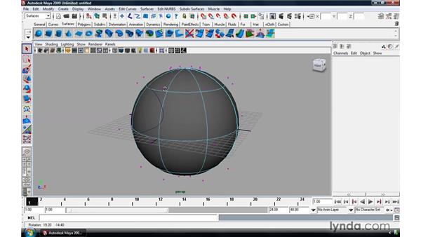 Creating curves on a surface: Maya 2009 Essential Training
