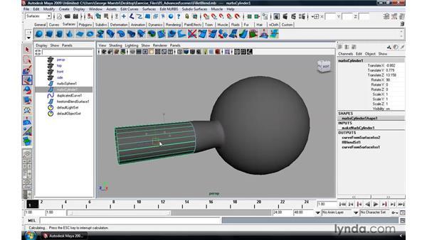 Using the NURBS Fillet tool: Maya 2009 Essential Training