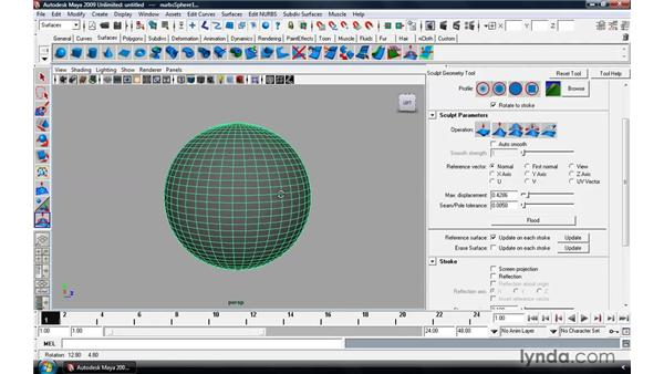 Sculpting on NURBS and polygonal surfaces : Maya 2009 Essential Training