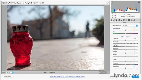 Correcting a tilted horizon: Adobe Camera Raw Essential Training
