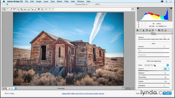 Adding vignettes and border effects: Adobe Camera Raw Essential Training