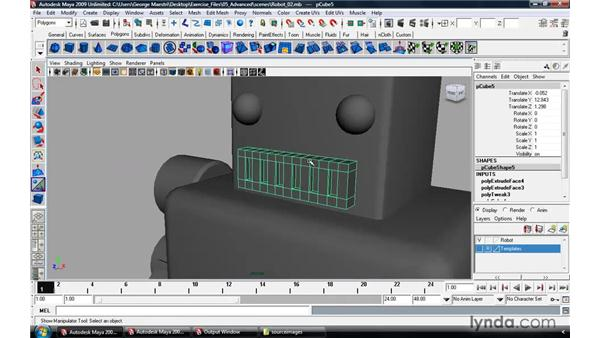 Modeling a robot pt. 3: The face: Maya 2009 Essential Training
