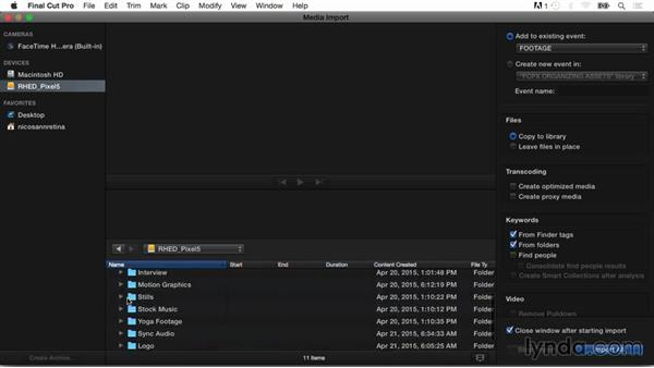 Using the media import window: Final Cut Pro X Guru: Organizing Assets