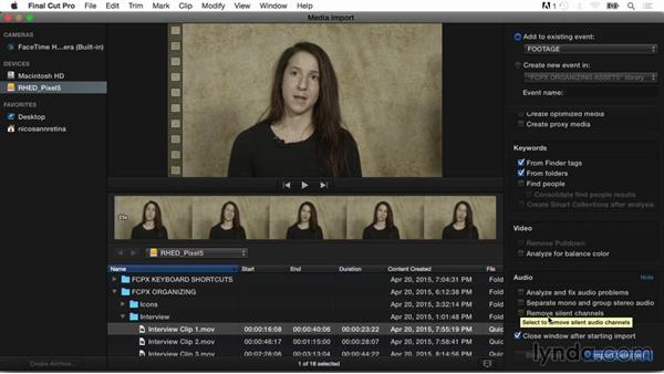 Analyzing for color balance and audio problems: Final Cut Pro X Guru: Organizing Assets