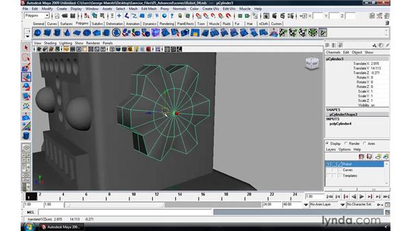 Modeling a robot pt. 5: The final details: Maya 2009 Essential Training