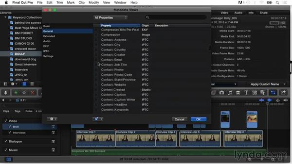 Editing metadata views: Final Cut Pro X Guru: Organizing Assets