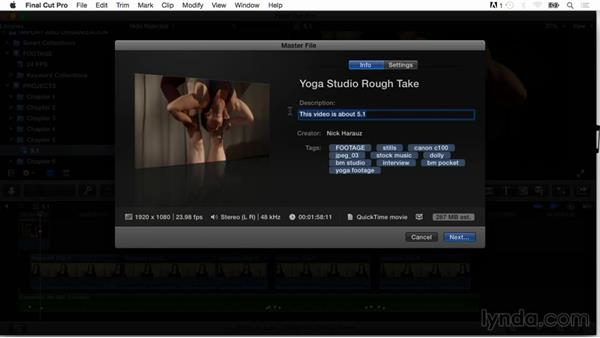 Descriptions and tags for export and online distribution: Final Cut Pro X Guru: Organizing Assets