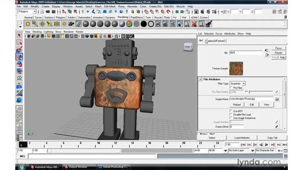 Using bitmaps as texture: Maya 2009 Essential Training