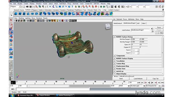 Texture-mapping NURBS surfaces: Maya 2009 Essential Training