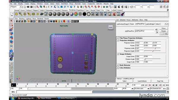 Texture-mapping polygonal surfaces: Maya 2009 Essential Training