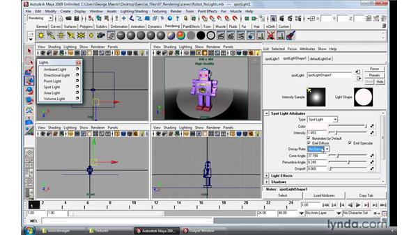 Understanding the basics of lights and lighting types: Maya 2009 Essential Training