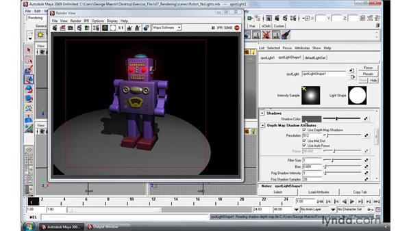 Adding depth map shadows: Maya 2009 Essential Training