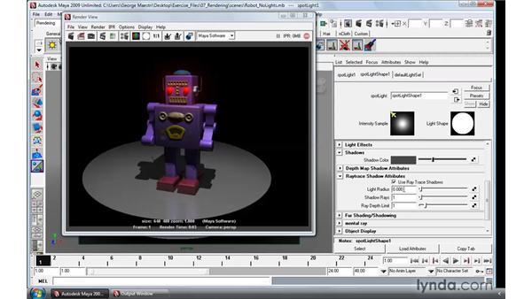 Using Raytrace shadows: Maya 2009 Essential Training