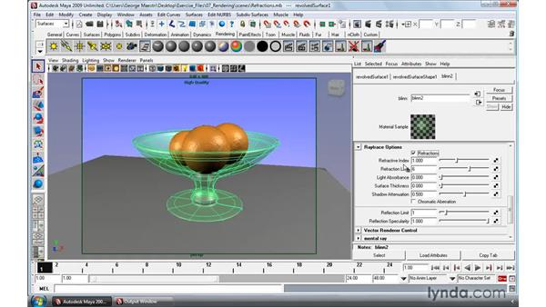 Raytracing reflections and refractions: Maya 2009 Essential Training